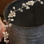 """15"""" soft  vine of MOP flowers & tri pearls & rhinestone margaritas….(MOP pearls only)"""