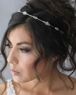A-5662  Delicate headband of spaced rhinestone flowers & tri rhinestones………*Silver………………………
