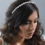 A-5667  A delicate headband of 4mm MOP flowers with rhinestone centers and square rhinestone…(Diamond white MOP only)………..