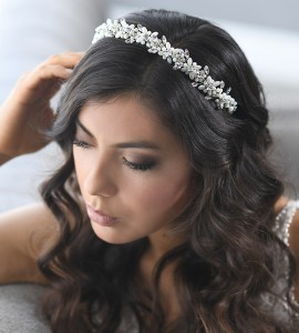 A-5668 A headband of MOP floral petals with square rhinestone centers with tri rhinestone navette stems ( MOP only)…