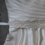 "B-127  83"" long 5/8"" double face satin sash with a 15 ½"" open lace appliqué accented with freshwater pearls, seed beads & clear beads..……(Diamond white or ivory lace appliqué)… All ribbon colors……"