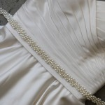 "B-132  32"" appliqué of assorted pearls and lochrosen stones tipped with crystals….(Ivory or white pearl)….."
