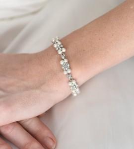 "J-9422 7"" long double strand of 6mm black Swarovski pearls with a rhinestone clasp… (Black pearl)………."