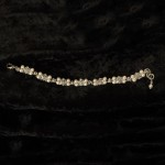 "J-9442  7"" delicate bracelet of delicate square rhinestone filigrees edged with 4mm pearls…(Ivory or white pearl) *Silver…"