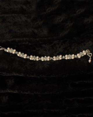 """J-9442  7"""" delicate bracelet of delicate square rhinestone filigrees edged with 4mm pearls…(Ivory or white pearl) *Silver…"""