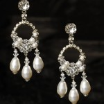 "J-9443  2"" hanging circular filigree earring with 3 hanging glass pearls on a rhinestone post …..(Ivory or white pearl)……………….*Silver"