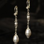 "J-9447  1 ½"" hanging earring on a French hook accented with a rhinestone and a teardrop pearl…. (Ivory or white pearl)………….*Silver"