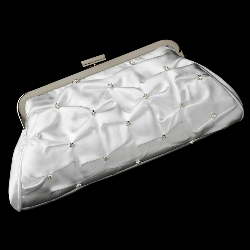 White Satin Bridal Evening Bag Couture Bridal