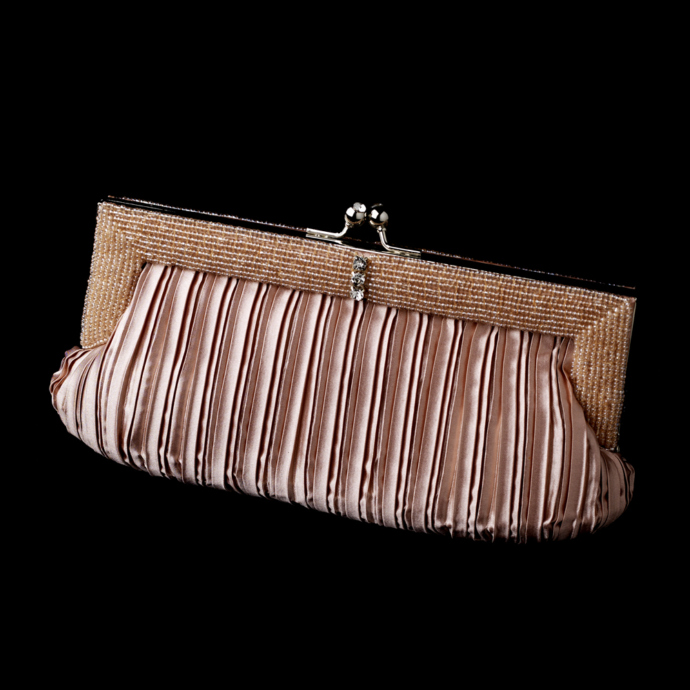 Gorgeous Dusty Rose Pleated Satin Beaded Evening Bag