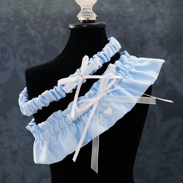 Couture Garters For Wedding: Love Initials Wedding Garter In Blue