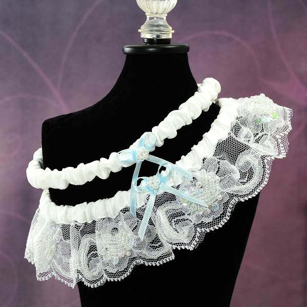 Couture Garters For Wedding: Beaded Lace Wedding Garter In White