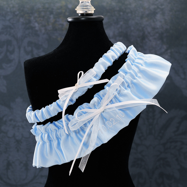 Couture Garters For Wedding: A Very Special Date Wedding Garter In Blue