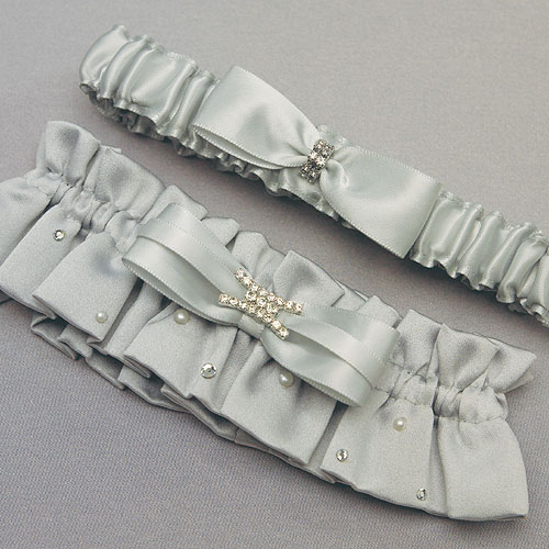 Couture Garters For Wedding: Platinum By Design Two Piece Bridal Garter Set