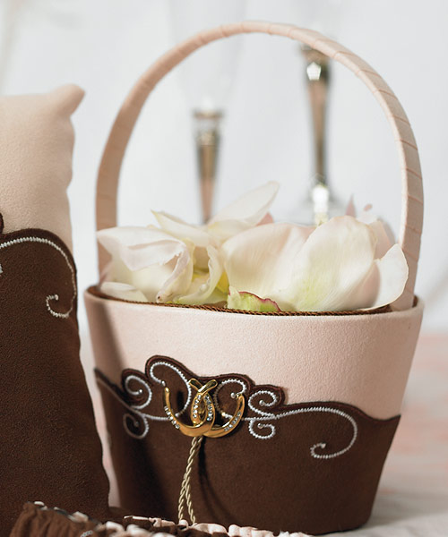 Romantic Vintage Western Flower Girl Basket Couture Bridal