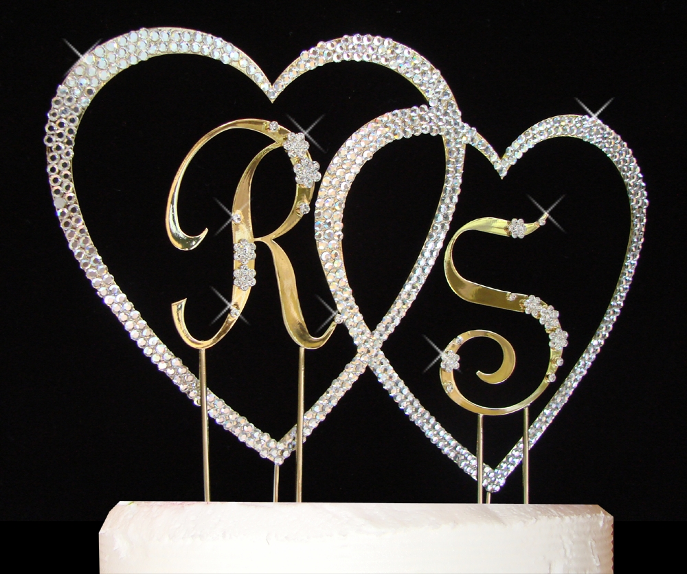 ... Heart Wedding Cake Topper Set.  Crystal Covd Double_Heart__2_Smll Flower_Letters