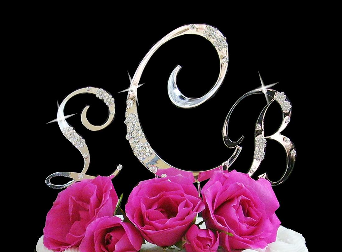 French Flower Swarovski Crystal Wedding Cake Toppers