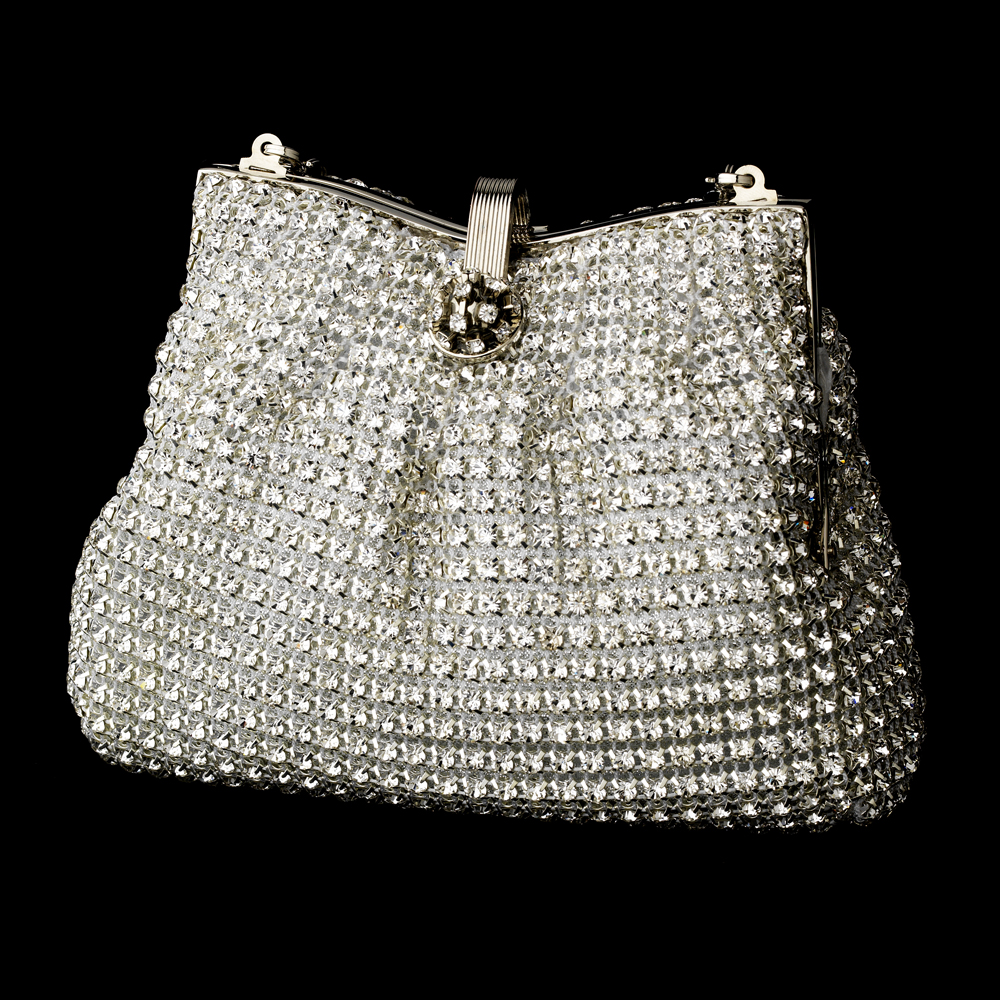 3370296553 Glamorous Silver Clear Crystal Evening Bag - Couture Bridal
